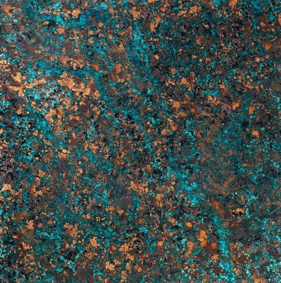 Copper Patina Sheet Majestic Topaz 36 Gauge Veneer Colored Inlay Blue